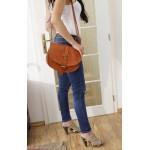 The Leather crossbody bag messenger bag leather Saddle bag purse Goldmann L in tan image