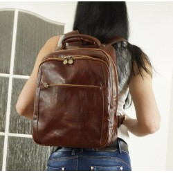 Leather backpack travel bag brown leather bag Anika