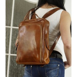 Leather backpack school bag tan leather travel bag Davina