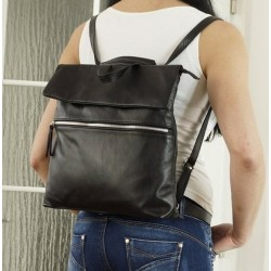 Leather backpack black leather school bag Ilana