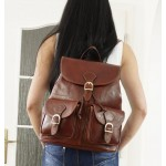 The Leather backpack brown school travel bag Eliana image