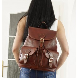 Leather backpack brown school travel bag Eliana