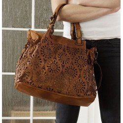 Distressed tan leather tote bag Vanina