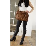 The Distressed tan leather tote bag Vanina image