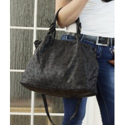 Distressed black leather tote bag Vanina