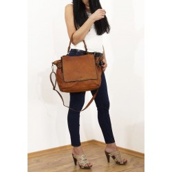 Leather tote bag Shana tan shoulder crossbody bag