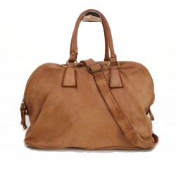 Leather tote handbag tan travel bag vintage effect Sarah