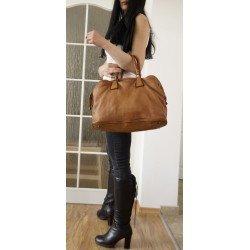 Washed leather tote handbag tan vintage effect Sarah