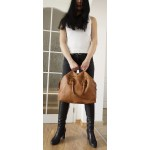 The Leather tote handbag tan travel bag vintage effect Sarah image