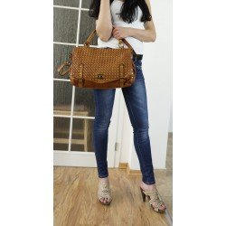 Washed woven leather purse antique tan leather Sahar