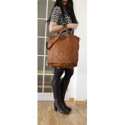 Washed woven tan leather tote cross-body weekender bag Marissa