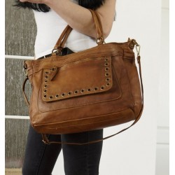 Leather tote bag handbag shoulder crossbody purse tan leather Myriam