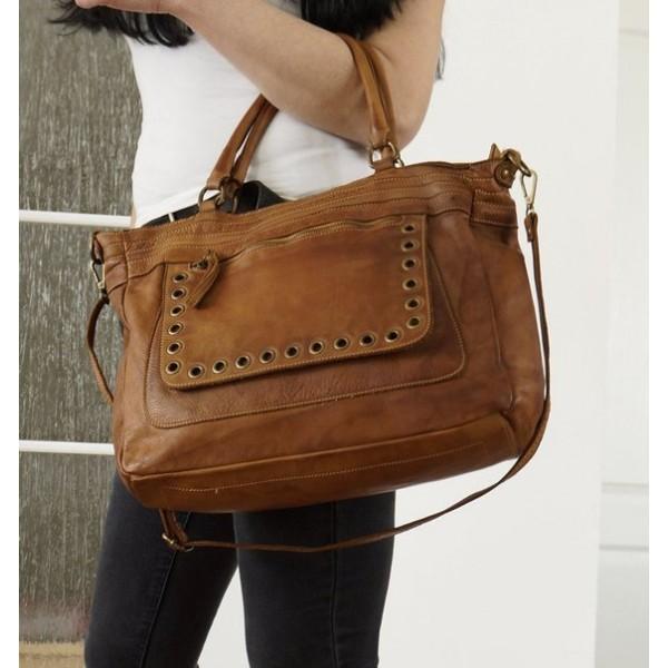 The Leather tote bag handbag shoulder crossbody purse tan leather Myriam image