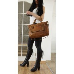 Washed leather tote bag handbag shoulder crossbody purse tan leather Myriam