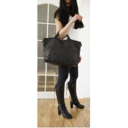 Black washed leather tote handbag bag messenger tote Mahalia