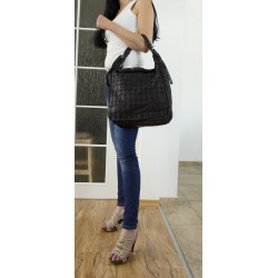 Black washed distressed leather tote handbag leather bag purse Miranda