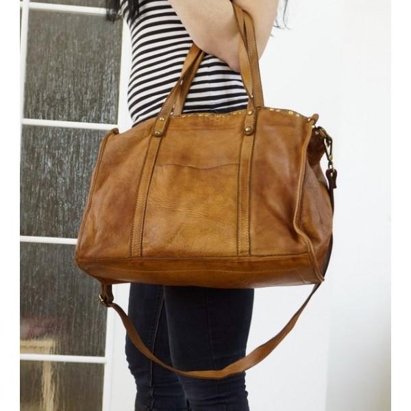 The Tan leather tote bag handbag crossbody messenger bag Carmel image