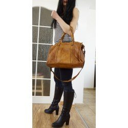 Tan washed leather tote bag handbag crossbody messenger bag Carmel