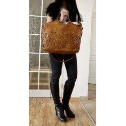 Tan washed distressed leather tote handbag bag messenger tote Mahalia