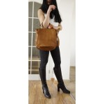 The Convertible tan leather backpack to crossbody bag Liat image