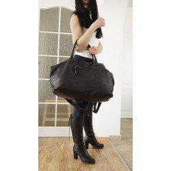 Washed black leather weekender tote bag Malka