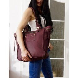 Leather tote bag handbag shopper Alissa in aubergine
