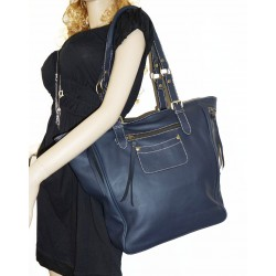 Leather tote bag leather handbag shopper tote Alissa in navy blue