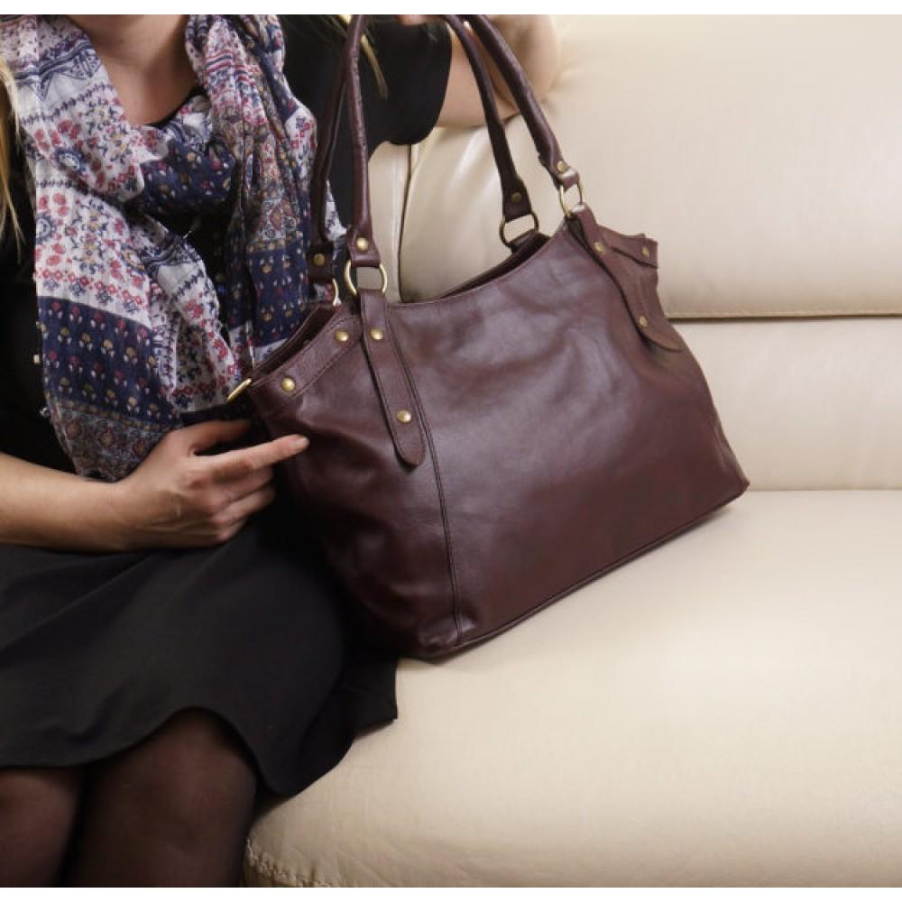 Leather tote bag crossbody handbag Elsa in aubergine