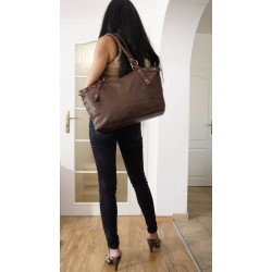 Leather tote bag Elsa in brown crossbody handbag