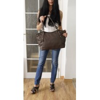 Leather tote bag Elsa in coffee brown crossbody handbag