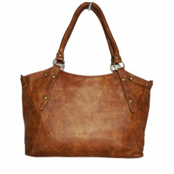 Leather tote bag Elsa shoulder crossbody bag in antic tan