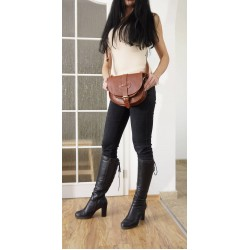 Leather shoulder bag Goldmann S in brown messenger crossbody purse
