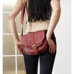 Leather saddle bag shoulder crossbody Goldmann S in burgundy purse