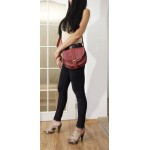 The Leather saddle bag shoulder crossbody Goldmann S burgundy purse image