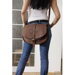 Leather crossbody bag Goldmann XL shoulder purse in dark brown messenger bag