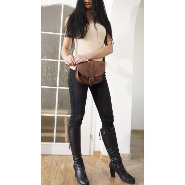 The Leather shoulder bag Goldmann S messenger crossbody purse distressed brown image