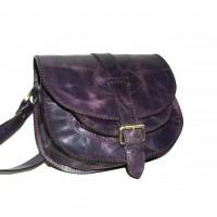 Leather crossbody purse Goldmann S in distressed deep purple