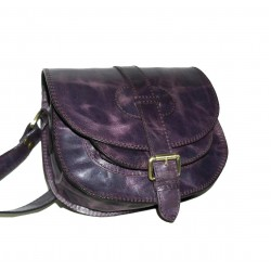 Leather crossbody purse Goldmann S in distressed deep purple