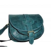 Leather saddle bag messenger crossbody purse Goldmann S in distressed teal blue