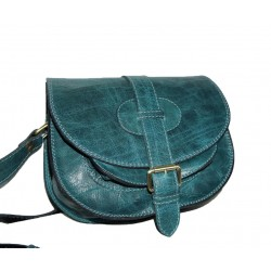 Leather saddle bag messenger crossbody purse Goldmann S in distressed teal blue