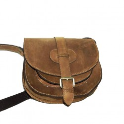 Leather crossbody purse Goldmann S in rustic brown shoulder bag messenger