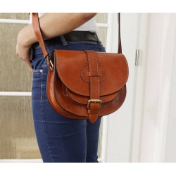 Leather saddle bag Goldmann S tan shoulder crossbody purse