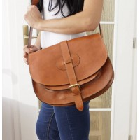 Leather saddle bag shoulder purse Goldmann XL tan messenger bag