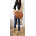 Leather saddle bag shoulder purse Goldmann XL tan messenger bag