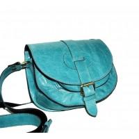 Leather shoulder purse Goldmann S in turquoise crossbody bag messenger