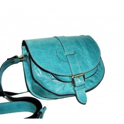 Leather shoulder purse Goldmann S in turquoise crossbody bag messenger