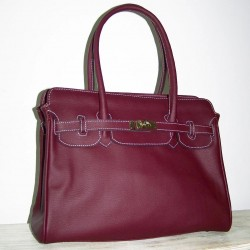 Leather handbag crossbody bag purse Ilita in aubergine