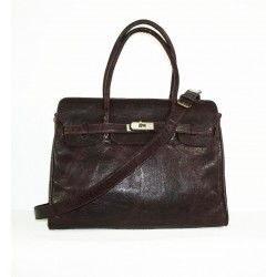 Leather handbag bag Ilita in distressed glossy dark brown leather crossbody purse
