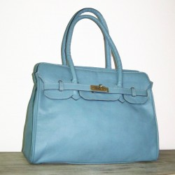 Leather handbag bag Ilita in light bleu leather crossbody satchel purse