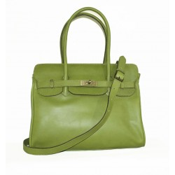 Leather satchel bag Ilita in pistachio green leather crossbody purse